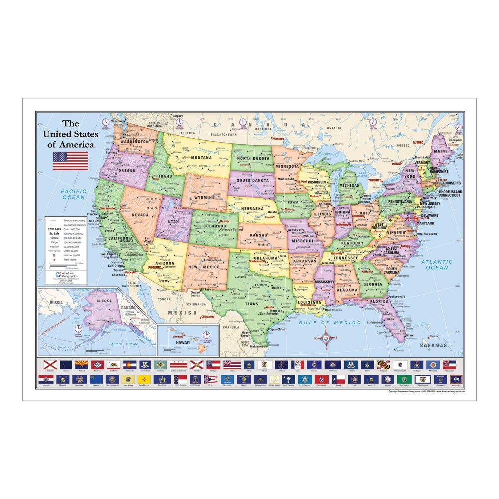 United States Usa Map With State Flags For Kids Rolled Paper 36 X 24 By American Geographics